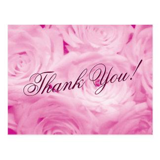 Obrigado cartão do casamento com as flores do rosa cartão postal