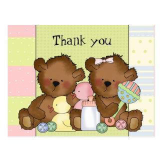 Obrigado cartão dos ursos do gêmeo da menina do