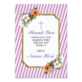 Obrigado cartões florais da listra cor-de-rosa