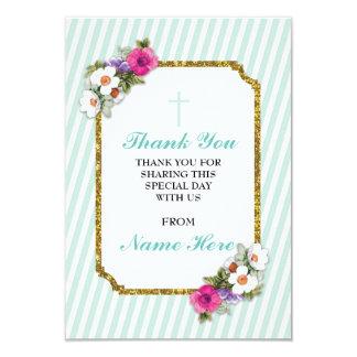 Obrigado cartões florais da listra religiosa da