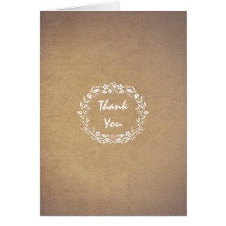 obrigado casamento floral elegante da grinalda cartão de nota