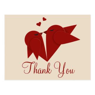 Obrigado casamento vermelho de Borgonha Cartão Postal