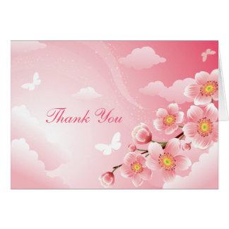 Obrigado cor-de-rosa da borboleta das flores de ce cartoes