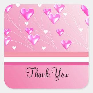 Obrigado cor-de-rosa de flutuação dos corações adesivo quadrado