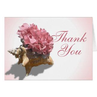 Obrigado cor-de-rosa dos Hydrangeas do litoral Cartão De Nota