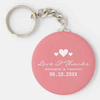Obrigado cor-de-rosa macio do casamento dos chaveiro