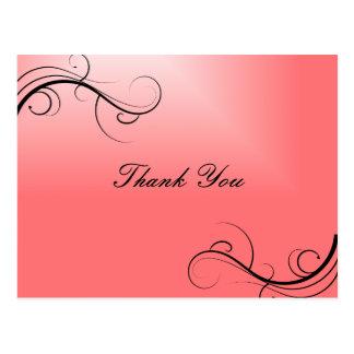 Obrigado cor-de-rosa você cartão postal