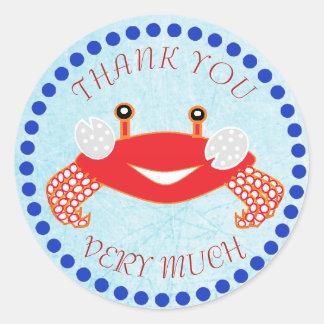 Obrigado Crab etiquetas náuticas do chá de fraldas