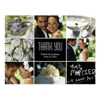 Obrigado da colagem do casamento você cartão cartão postal