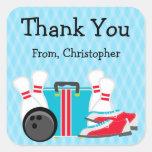 Obrigado da festa de aniversário da boliche você adesivos quadrados