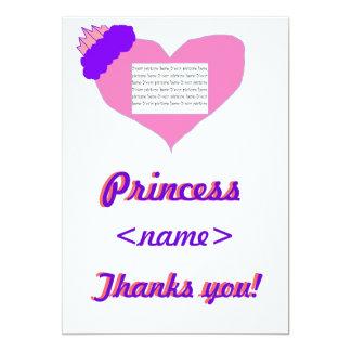 Obrigado da festa de aniversário da princesa convites personalizados
