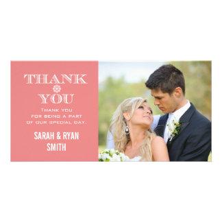 Obrigado da foto do casamento do floco de neve do cartão com foto
