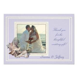 Obrigado da foto do casamento do Seashell da Convite 12.7 X 17.78cm
