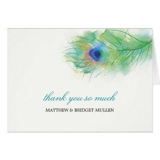 Obrigado da pena do pavão da aguarela você cartão de nota