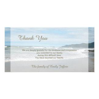 Obrigado da simpatia da praia você cartão com cartão com foto