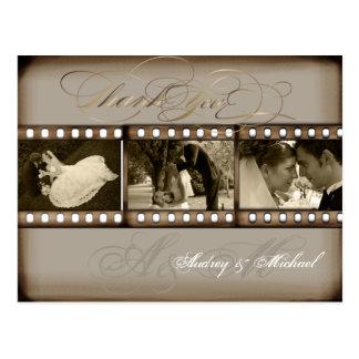 Obrigado das fotos do casamento vintage de cartão postal