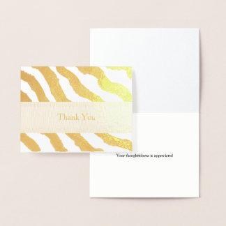 Obrigado das listras da zebra você cartão metalizado