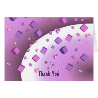 Obrigado de flutuação dos corações e dos cubos cartão
