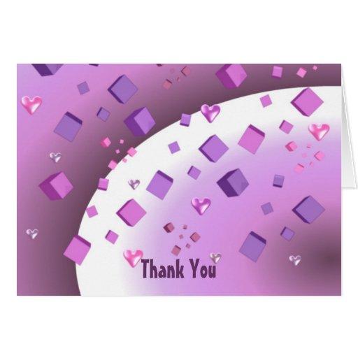 Obrigado de flutuação dos corações e dos cubos voc cartao
