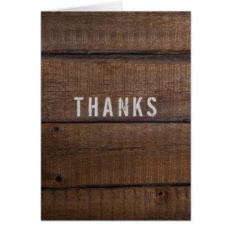 Obrigado de madeira escuro rústico você do cartão