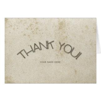 Obrigado de papel feito sob encomenda afligido cartão de nota