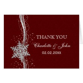 obrigado de prata vermelho do casamento no inverno cartão