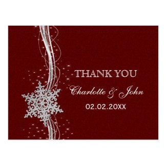 obrigado de prata vermelho do casamento no inverno cartao postal