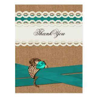 Obrigado de serapilheira do FALSO, verde e branco Cartão Postal