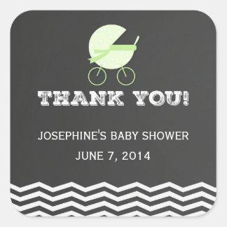 Obrigado do carrinho de criança de bebê você adesivos quadrados
