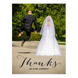 Obrigado do casamento da foto da caligrafia | você cartão postal