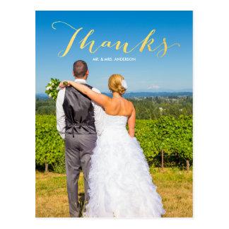 Obrigado do casamento da foto do ouro | da cartao postal