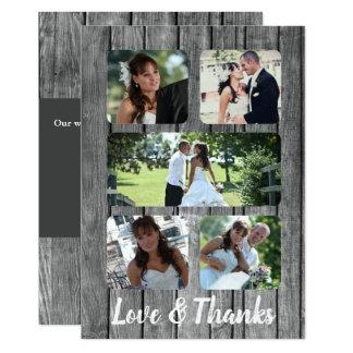 Obrigado do casamento de 5 fotos você cartão da