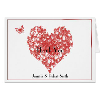 Obrigado do casamento do coração da borboleta do cartão de nota