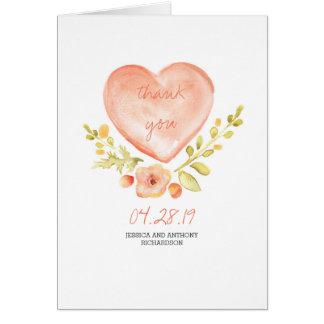 Obrigado do casamento do coração das flores da cartão de nota