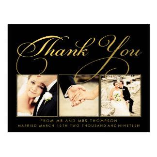 Obrigado do casamento do ouro você Script a foto Cartoes Postais