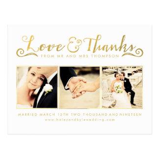 Obrigado do casamento do ouro você Script a foto Cartão Postal