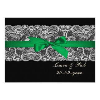 Obrigado do casamento do verde esmeralda da fita convites personalizados