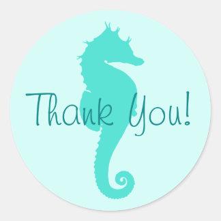 Obrigado do cavalo marinho de turquesa você adesivo