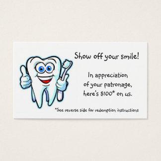 obrigado do dentista cartão de visita