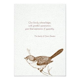 Obrigado do falecimento do pássaro de Brown você Convite 12.7 X 17.78cm