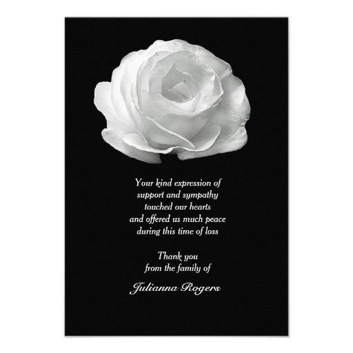 Obrigado do falecimento do rosa branco você Noteca Convite Personalizado