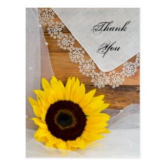 Obrigado do girassol e do casamento do país do laç cartoes postais