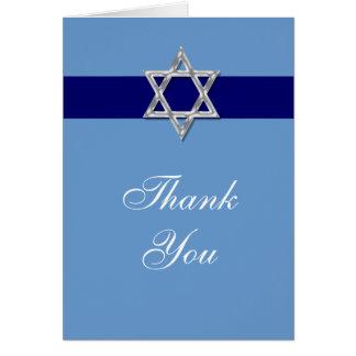 Obrigado do mitzvah do bar você prata azul cartão