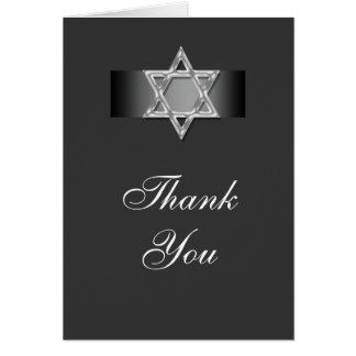 Obrigado do mitzvah do bar você prata cinzenta cartão
