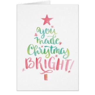 Obrigado do Natal da árvore da aguarela você Cartão Comemorativo