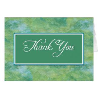 Obrigado do negócio do azul & do verde de pavão cartão de nota