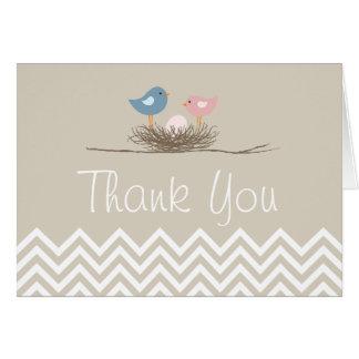 Obrigado do ninho do pássaro cor-de-rosa de cartão de nota