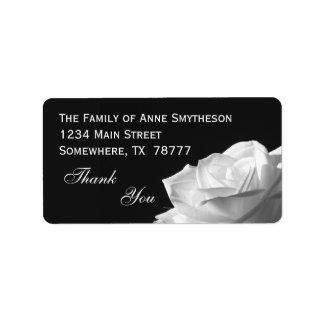 Obrigado do rosa branco você etiqueta de endereço