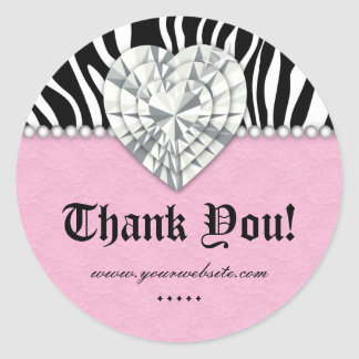 Obrigado do rosa do coração do laço da pérola da adesivos redondos