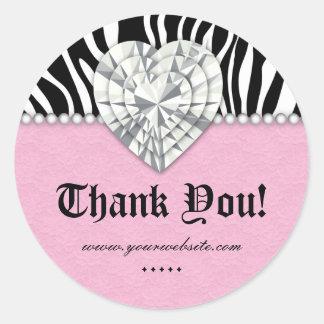 Obrigado do rosa do coração do laço da pérola da z adesivos redondos